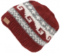 Beanie cap, knitted cap with meander pattern from Nepal - red