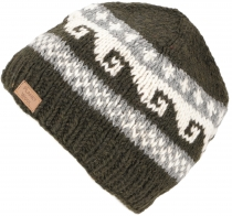 Beanie cap, knitted hat with meander pattern from Nepal - dark gr..