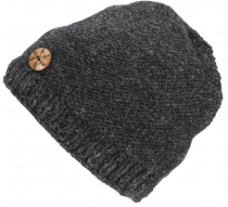 Beanie cap, knitted hat with snowflake button from Nepal - anthra..