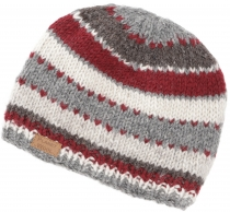 Beanie cap, striped knitted hat from Nepal - grey/red