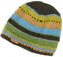Beanie cap, striped knitted hat from Nepal - green