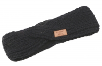 Crossed wool knitted browband, knitted ear warmer - black