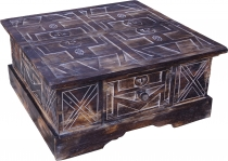 Hand-carved floor table, coffee table, balsa wood chest