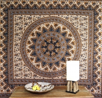 Indisches Mandala Tuch, Wandtuch, traditionelle Tagesdecke - brau..