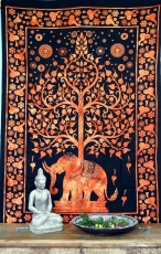 Indisches Wandtuch, Batik Tagesdecke - Tree of Life Elefant / ora..