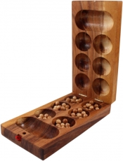 Board game, wooden board game - Kalaha with glass marbles