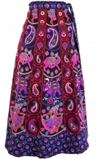 Long boho wrap skirt, ethno flamenco skirt with elephant motif - ..