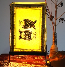 Lokta paper table lamp, square table lamp - fish yellow
