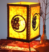 Lokta paper table lamp, square table lamp - moon orange