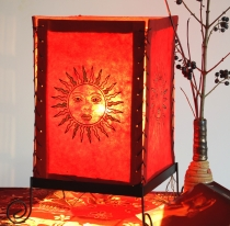 Lokta paper table lamp, square table lamp - sun red