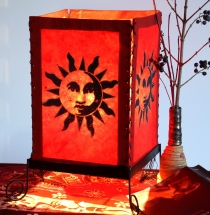 Lokta paper table lamp, square table lamp - sun 1 red