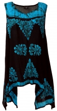 Longtop XXL, embroidered tunic Hippie chic - black/blue