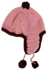 Cap with ear flaps - pink