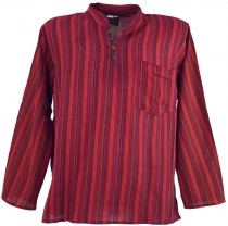 Nepal fisherman shirt, striped Goa hippie shirt, yoga shirt - red