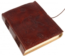 Notebook, leather book, diarycover `Elefant`