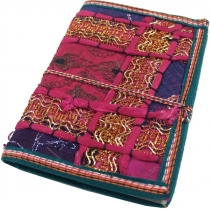 Indian notebook, diary with patchwork binding - pink