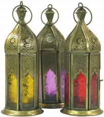 oriental brass/glass lantern in Moroccan design, lantern in 6 col..