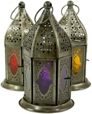 oriental metal/glass lantern in Moroccan design, lantern in 6 col..