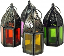 oriental metal/glass lantern in Moroccan design, lantern small in..