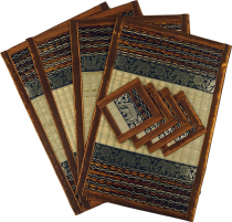 Place mat Bast coaster Table mat 4èr Set - brown
