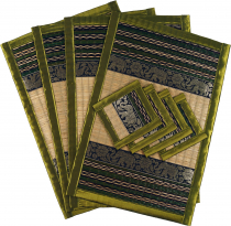 Place mat Bast coaster Table mat 4èr Set - lime green