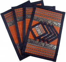 Place mat Bast coaster Table mat 4èr Set - orange
