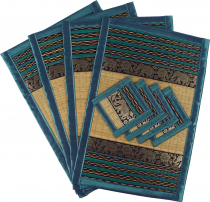 Place mat Bast coaster Table mat 4èr Set - turquoise