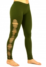 Psytrance, Goa Ladies Leggings Pants, Festival Yogahose - olive