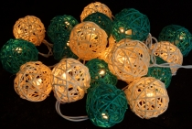 Rattan Ball LED Kugel Lampion Lichterkette - türkis/weiß