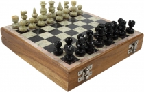board game, board game made of wood and soapstone - chess game