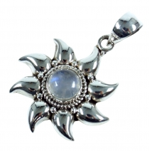 Ethno Silver Pendant, Indian Sun Pendant - White Moonstone