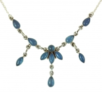 Silver necklace with semi precious stones Calcedon blue
