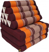 Thai pillow, triangle pillow, kapok, day bed with 3 pads - brown/..
