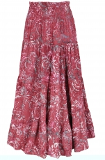 Maxi skirt batik, long summer skirt made of sarong fabric - borde..