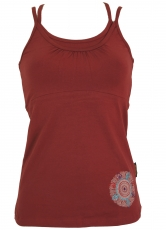 Top-Yoga, Yoga Tanktop, Embroidered Yogatop Mandala - paprika