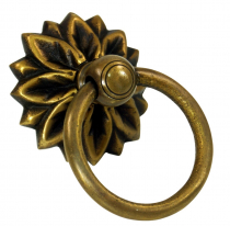 Door handle, fitting ornament with ring, brass