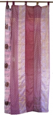 Curtain (1 pc.) Patchwork curtain Saree fabric, unique - pink col..