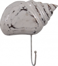 Wall hook - pointed mussel antique white