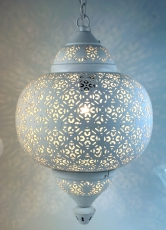 white metal ceiling lamp in marrocan design, oriental ceiling lam..