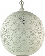 white metal ceiling lamp in marrocan design, oriental sphere ceil..