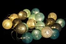 Fabric Ball Light Chain LED Ball Lampion Light Chain - turquoise/..