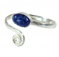 Brass toe ring, Goa jewellery silver plated with lapis lazulite -..