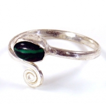 Brass toe ring, Goa jewellery silver plated with malachite - Desi..