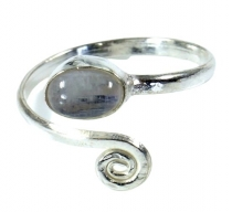 Brass toe ring, silver plated goa jewellery with moonstone - Desi..