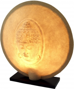 Table lamp/table lamp Nirwana, handmade in Bali, fiberglass with Buddha motif - 50x47x20 cm