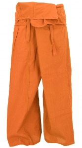 Thai fishing trousers made of cotton, wrap trousers, yoga trousers - M/L rust-red