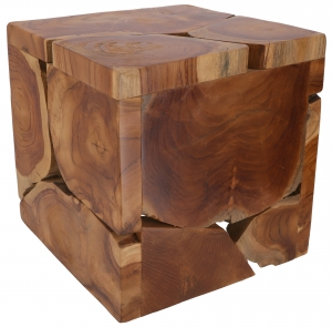 Decorative cube made of burl wood, light object - 31x31x31 cm