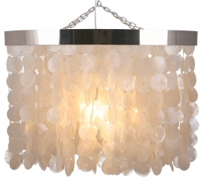 Ceiling Lamp/Ceiling Lamp, Shell Lamp made of hundreds of capiz, mother of pearl plates - Model Tabasco 50 - 50x70x35 cm