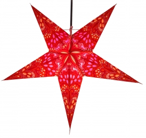 Foldable Advent illuminated paper star, Poinsettia 60 cm - Nestor orange