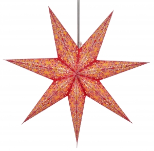 Foldable Advent illuminated paper star, Poinsettia 60 cm - Efendis red